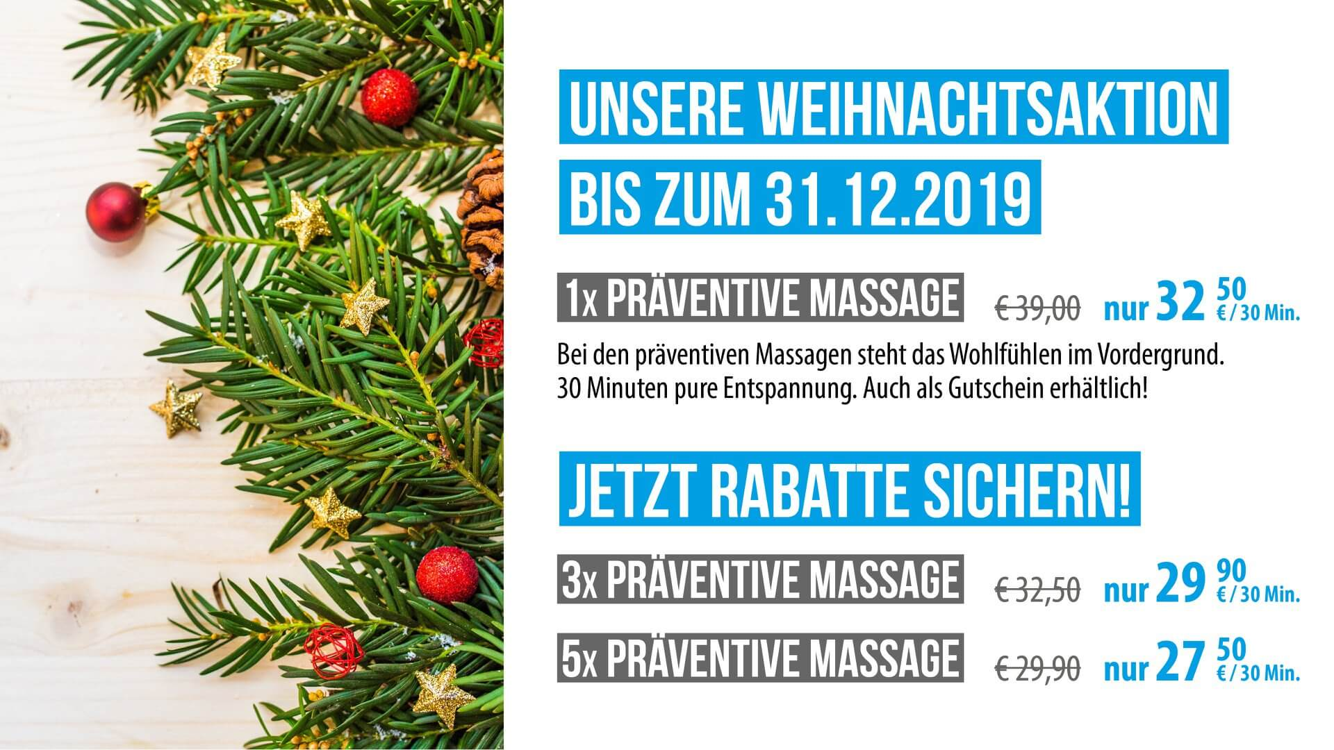 Fusion5 Physiotherapie : Weihnachtsangebot 2019